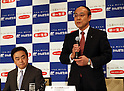 March 29, 2016, Tokyo, Japan -  Dai-ichi Life Insurance president Koichiro Watanabe (R) speaks while Japan Post Insurance president Masami Ishii (L) lloks on as they announce on their agreement in Tokyo on Tuesday, March 29, 2016. Japan Post Insurance and Dai-ichi Life Insurance have reached basic agreement to form a strategic business alliance. (Photo by Yoshio Tsunoda/AFLO) LWX -ytd-