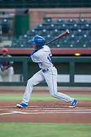 AZL Royals center fielder Raymond Lopez (15) follows through on his swing during an Arizona League game against the AZL Giants Black at Scottsdale Stadium on August 7, 2018 in Scottsdale, Arizona. The AZL Giants Black defeated the AZL Royals by a score of 2-1. (Zachary Lucy/Four Seam Images)