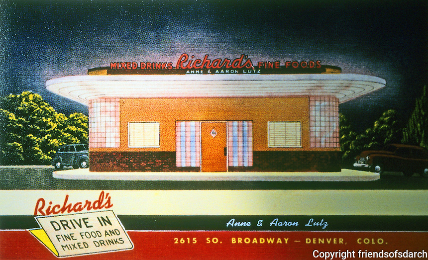Diners:  Richard's Diner, Denver CO. 1937:  1948 view.  Demolished.  Phot0 '89.