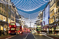 United Kingdom, England, London: Christmas lights and shopping along Regent Street
