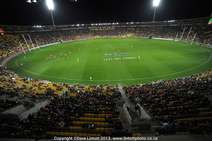 A general view of Westpac Stadium during the Australian Rules Football ANZAC Day match between St Kilda Saints and Sydney Swans at Westpac Stadium, Wellington, New Zealand on Thursday, 24 May 2013. Photo: Dave Lintott / lintottphoto.co.nz
