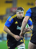 Jeremy Thrush warms up for the Super Rugby match between the Hurricanes and Sharks at Westpac Stadium, Wellington, New Zealand on Saturday, 9 May 2015. Photo: Dave Lintott / lintottphoto.co.nz