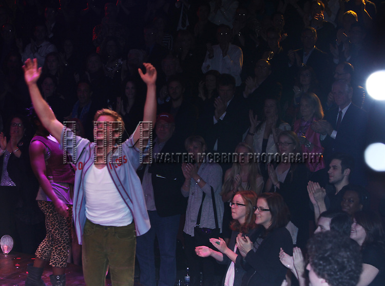 Hunter Parrish.during the Opening Night Performance Curtain Call for the Broadway Revival of 'Godspell' at Circle in the Square Theatre in New York City.