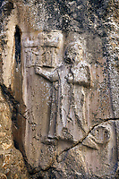 God figure from the 13th century BC Hittite religious rock carvings of Yazılıkaya Hittite rock sanctuary, chamber A,  Hattusa, Bogazale, Turkey.