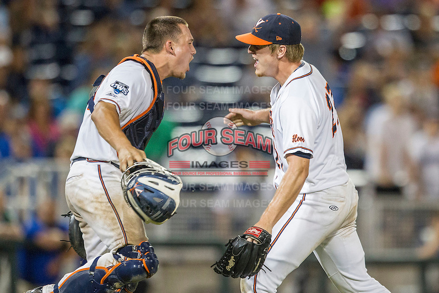 Virginia Cavaliers pitcher Josh Sborz (27) celebrates with catcher Matt Thaiss (21) after defeating the Florida Gators in Game 13 of the NCAA College World Series on June 20, 2015 at TD Ameritrade Park in Omaha, Nebraska. The Cavaliers beat the Gators 5-4. (Andrew Woolley/Four Seam Images)