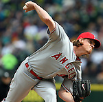 Los Angeles Angels  starting pitcher Jered Weaver pitches to Seattle Mariners'  Seth Smith in the third inning of  season home opener April 6, 2015 at Safeco Field in Seattle.  The Mariners beat the Angels 4-1.      ©2015. Jim Bryant Photo. ALL RIGHTS RESERVED.