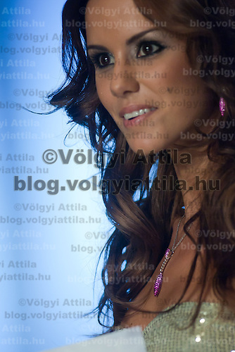 Contestant Agnes Konkoly participates the Beauty Queen live TV show hosting the joint beauty contests Miss World Hungary, Miss Universe Hungary and Miss Earth Hungary, held in Hungary's tv2 television headquarter in Budapest, Hungary on July 14, 2011. ATTILA VOLGYI