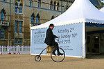 A custodian rides a penny farthing at Christ Church during the Sunday Times Oxford Literary Festival, UK, 2-10 April 2011. <br />