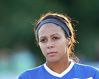 Boston Breakers forward Sydney Leroux (2). In a National Women's Soccer League (NWSL) match, Boston Breakers (blue) defeated Portland Thorns FC (white/black), 2-1, at Dilboy Stadium on August 7, 2013.