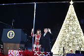 United States President Donald J. Trump and first lady Melania Trump attend the 97th annual National Christmas Tree Lighting ceremony at the Ellipse in President's Park near the White House in Washington, DC on December 5, 2019.<br /> Credit: Oliver Contreras / Pool via CNP