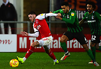 Fleetwood Town's Wes Burns vies for possession with Coventry City's Jordan Willis<br /> <br /> Photographer Richard Martin-Roberts/CameraSport<br /> <br /> The EFL Sky Bet League One - Fleetwood Town v Coventry City - Tuesday 27th November 2018 - Highbury Stadium - Fleetwood<br /> <br /> World Copyright &copy; 2018 CameraSport. All rights reserved. 43 Linden Ave. Countesthorpe. Leicester. England. LE8 5PG - Tel: +44 (0) 116 277 4147 - admin@camerasport.com - www.camerasport.com