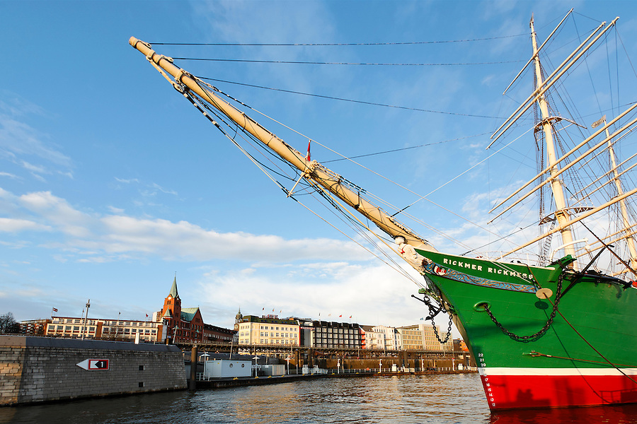 Tall ship freighter Rickmer Rickmers (circ. 1896) at port on Elbe River, Hamburg, Germany
