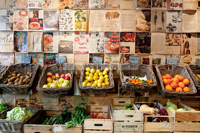 'Mia Market' cafe and organic produce market, situated in the historic district of 'Monti', Rome, Italy