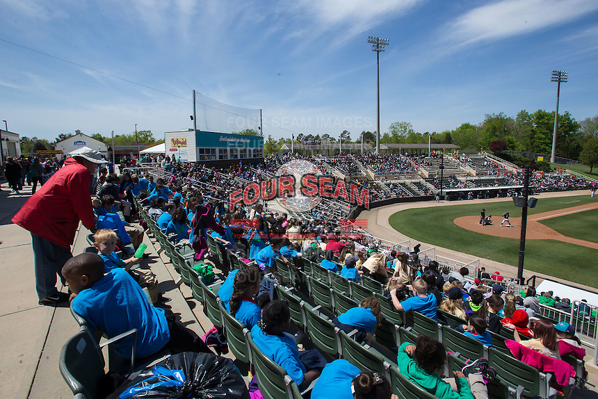 An Education Day crowd of 3.442 fans were on hand to watch the South Atlantic League game between the Delmarva Shorebirds and the Kannapolis Intimidators at Kannapolis Intimidators Stadium on April 13, 2016 in Kannapolis, North Carolina.  The Intimidators defeated the Shorebirds 8-7.  (Brian Westerholt/Four Seam Images)
