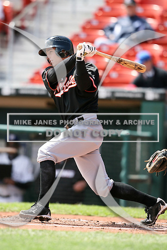 May 9, 2009:  Catcher Robby Hammock of the Norfolk Tides, International League Class-AAA affiliate of the Baltimore Orioles, at bat during a game at Coca-Cola Field in Buffalo, FL.  Photo by:  Mike Janes/Four Seam Images