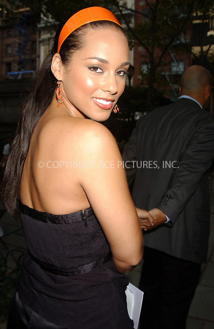 WWW.ACEPIXS.COM . . . . .  ....NEW YORK, SEPTEMBER 14, 2005....Alicia Keys at Olympus Fashion Week held at Bryant Park.....Please byline: AJ SOKALNER - ACE PICTURES.... *** ***..Ace Pictures, Inc:  ..Craig Ashby (212) 243-8787..e-mail: picturedesk@acepixs.com..web: http://www.acepixs.com
