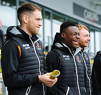 Blackpool's Harry Pritchard, left, Blackpool's Marc Bola and Blackpool's Chris Taylor prior to the game<br /> <br /> Photographer Chris Vaughan/CameraSport<br /> <br /> The EFL Sky Bet League One - Burton Albion v Blackpool - Saturday 16th March 2019 - Pirelli Stadium - Burton upon Trent<br /> <br /> World Copyright &copy; 2019 CameraSport. All rights reserved. 43 Linden Ave. Countesthorpe. Leicester. England. LE8 5PG - Tel: +44 (0) 116 277 4147 - admin@camerasport.com - www.camerasport.com