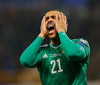 16th November 2019; Windsor Park, Belfast, Antrim County, Northern Ireland; European Championships 2020 Qualifier, Northern Ireland versus Netherlands; Josh Magennis of Northern Ireland reacts a a missed shot on goal - Editorial Use
