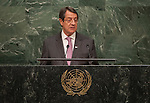 His Excellency Nicos Anastasiades, President of the Republic of Cyprus<br /> <br /> <br /> 6th plenary meeting High-level plenary meeting of the General Assembly (3rd meeting)