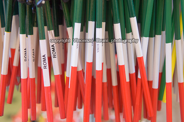 Pencils sold as souvenirs of Italy in a tourist shop near Trevi fountain in Rome.