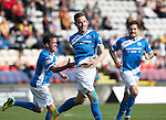 Partick Thistle v St Johnstone&hellip;10.09.16..  Firhill  SPFL<br />Steven MacLean celebrates his goal with Danny Swanson and Richie Foster<br />Picture by Graeme Hart.<br />Copyright Perthshire Picture Agency<br />Tel: 01738 623350  Mobile: 07990 594431