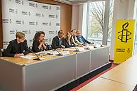 Pressegespraech zur Verleihung des 9. Amnesty Menschenrechtspreises am 16. April 2018 in Berlin.<br /> Amnesty International vergibt den Menschenrechtspreis 2018 an das Nadeem-Zentrum in Kairo als ein Zeichen gegen Folter in Aegypten.<br /> Stellvertretend fuer das Nadeem-Zentrum nahm der aegyptische Arzt und Menschenrechtsaktivist Taher Mukhtar entgegen, da die Betreiber des Zentrums nicht aus Aegypten ausreisen duerfen.<br /> Im Bild vlnr.: Dolmetscherin; Najia Bounaim, Stellvertretende Nordafrika-Direktorin fuer Kampagnen im Internationalen Sekretariat von Amnesty International und Markus N. Beeko, Generalsekretaer von Amnesty International in Deutschland; Sara Fremberg, Pressesprecherin Amnesty International Deutschland.<br /> 16.4.2018, Berlin<br /> Copyright: Christian-Ditsch.de<br /> [Inhaltsveraendernde Manipulation des Fotos nur nach ausdruecklicher Genehmigung des Fotografen. Vereinbarungen ueber Abtretung von Persoenlichkeitsrechten/Model Release der abgebildeten Person/Personen liegen nicht vor. NO MODEL RELEASE! Nur fuer Redaktionelle Zwecke. Don't publish without copyright Christian-Ditsch.de, Veroeffentlichung nur mit Fotografennennung, sowie gegen Honorar, MwSt. und Beleg. Konto: I N G - D i B a, IBAN DE58500105175400192269, BIC INGDDEFFXXX, Kontakt: post@christian-ditsch.de<br /> Bei der Bearbeitung der Dateiinformationen darf die Urheberkennzeichnung in den EXIF- und  IPTC-Daten nicht entfernt werden, diese sind in digitalen Medien nach &sect;95c UrhG rechtlich geschuetzt. Der Urhebervermerk wird gemaess &sect;13 UrhG verlangt.]