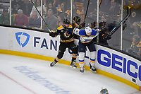 June 6, 2019: Boston Bruins left wing Jake DeBrusk (74) and St. Louis Blues defenseman Colton Parayko (55) in game action during game 5 of the NHL Stanley Cup Finals between the St Louis Blues and the Boston Bruins held at TD Garden, in Boston, Mass. The Blues defeat the Bruins 2-1 in regulation time. Eric Canha/CSM