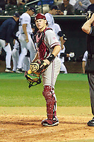 HOUSTON, TEXAS - Feb. 18, 2011: Zack Jones, Stanford's catcher, receives instructions from the bench during Stanford's opening day game against Rice.  Stanford defeated Rice University 5-3.