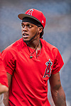 15 August 2017: Los Angeles Angels outfielder Cameron Maybin awaits his turn in the batting cage prior to a game against the Washington Nationals at Nationals Park in Washington, DC. The Nationals defeated the Angels 3-1 in the first game of their 2-game series. Mandatory Credit: Ed Wolfstein Photo *** RAW (NEF) Image File Available ***