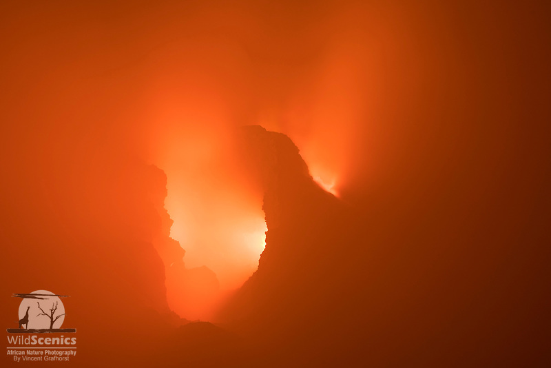Close-up of a temporary sky-light feature inside the crater of the Erta Ale Volcano in the Danakil Depression, Ethiopia, Africa