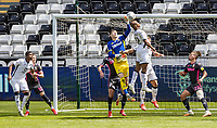 Leeds United's goalkeeper Illan Meslier saves under pressure from Swansea City's Marc Guehi <br /> <br /> Photographer Andrew Kearns/CameraSport<br /> <br /> The EFL Sky Bet Championship - Swansea City v Leeds United - Sunday 12th July 2020 - Liberty Stadium - Swansea<br /> <br /> World Copyright © 2020 CameraSport. All rights reserved. 43 Linden Ave. Countesthorpe. Leicester. England. LE8 5PG - Tel: +44 (0) 116 277 4147 - admin@camerasport.com - www.camerasport.com