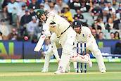 3rd December 2017, Adelaide Oval, Adelaide, Australia; The Ashes Series, Second Test, Day 2, Australia versus England; Pat Cummins of Australia hits back along the wicket
