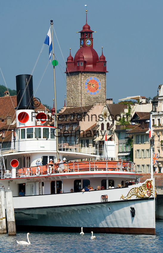 Switzerland, Canton Lucerne, Lucerne: old Town with Town Hall and steam paddle boat Gallia