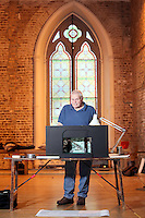 NO REPRO FEE.13/12/2010. The Field rehearsals. Brian Dennehy performing the iconic role of 'The Bull' McCabe is pictured with a scale model of the stage at Smock Alley Theatre, Temple Bar, Dublin for their first day of rehearsals for John B Keane's award-winning play, The Field. It will be directed by Joe Dowling. The play returns to The Olympia Theatre where it premiered over 45 years ago and will run from January 13 through to 12 February. Picture James Horan/Collins Photos