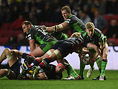 23rd March 2018, Ashton Gate, Bristol, England; RFU Rugby Championship, Bristol versus Yorkshire Carnegie; Ollie Fox of Yorkshire Carnegie is slow getting ball away from the ruck and is tackled by Dan Thomas of Bristol