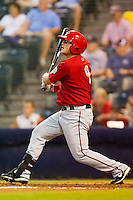Bill Rhinehart #9 of the Harrisburg Senators follows through on his swing against the Richmond Flying Squirrels in game two of a double-header at The Diamond on July 22, 2011 in Richmond, Virginia.  The Senators defeated the Flying Squirrels 1-0.   (Brian Westerholt / Four Seam Images)