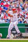 20 September 2015: Washington Nationals catcher Pedro Severino makes his Major League debut with a double against the Miami Marlins at Nationals Park in Washington, DC. The Nationals defeated the Marlins 13-3 to take the final game of their 4-game series. Mandatory Credit: Ed Wolfstein Photo *** RAW (NEF) Image File Available ***