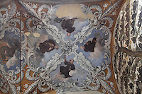 Frescoes on the ceiling of the portico of the Franciscan monastery La Gancia, 15th century, Palermo, Sicily, Italy. Part of the monastery is now the provincial Archive of State. Picture by Manuel Cohen