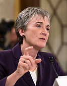 """United States Secretary of the Air Force Heather Wilson gives testimony before the US Senate Committee on Armed Services Subcommittee on Readiness and Management Support during a hearing titled """"US Air Force Readiness"""" on Capitol Hill in Washington, DC on Wednesday, October 10, 2018.<br /> Credit: Ron Sachs / CNP"""