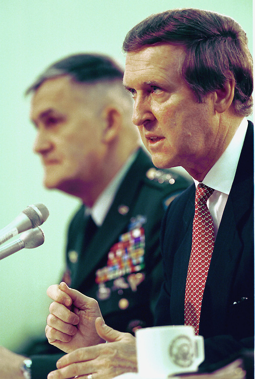 3-3-99.FISCAL 2000 DEFENSE APPROPRIATIONS-- William S. Cohen, secretary of Defense and Henry H. Shelton chairman, Joint Chiefs of Staff during the Defense Subcommittee of House Appropriations hearing on fiscal 2000 appropriations for programs under its jurisdiction..CONGRESSIONAL QUARTERLY PHOTO BY DOUGLAS GRAHAM