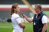 Max Clark of Bath Rugby is interviewed after the match. Aviva Premiership match, between Leicester Tigers and Bath Rugby on September 3, 2017 at Welford Road in Leicester, England. Photo by: Patrick Khachfe / Onside Images