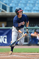 Outfielder Drew Wharton (15) of Peachtree Ridge High School in Suwanee, Georgia playing for the Atlanta Braves scout team during the East Coast Pro Showcase on July 31, 2013 at NBT Bank Stadium in Syracuse, New York.  (Mike Janes/Four Seam Images)