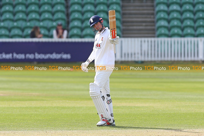 Alastair Cook of Essex celebrates scoring a century, 100 runs during Somerset CCC vs Essex CCC, Specsavers County Championship Division 1 Cricket at The Cooper Associates County Ground on 16th April 2017