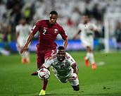 29th January 2019, Mohammed bin Zayed Stadium, Abu Dhabi, United Arab Emirates; AFC Asian Cup football semi final, Qatar versus United Arab Emirates; Ismail Al Hammadi of United Arab Emirates falls in front of Ró-Ró of Qatar