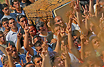 Israeli Arabs shout slogans during the funeral of Muhammed Karim and Beha Karim, who were killed on Friday by Katyusha rockets launched from Lebanon, in the Israeli Arab village of Majd el-Krum August 5, 2006. Hizbollah is willing to cease fire when Israel stops its assault on Lebanon and all Israeli soldiers leave Lebanese land, a Hizbollah cabinet minister said on Saturday JINI/ANCHO GOSH/EPA..