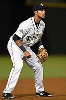 Third baseman Rigoberto Terrazas (9) of the Columbia Fireflies plays defense in a game against the Augusta GreenJackets on Opening Day, Thursday, April 5, 2018, at Spirit Communications Park in Columbia, South Carolina. Columbia won, 4-2. (Tom Priddy/Four Seam Images)