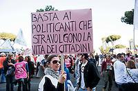 Roma 22 Marzo 2012 .Manifestazione contro le discariche dei comitati del Lazio davanti al ministero dell'Ambiente in concomitanza dell'incontro tra il ministro dell'Ambiente Corrado Clini e gli enti locali.
