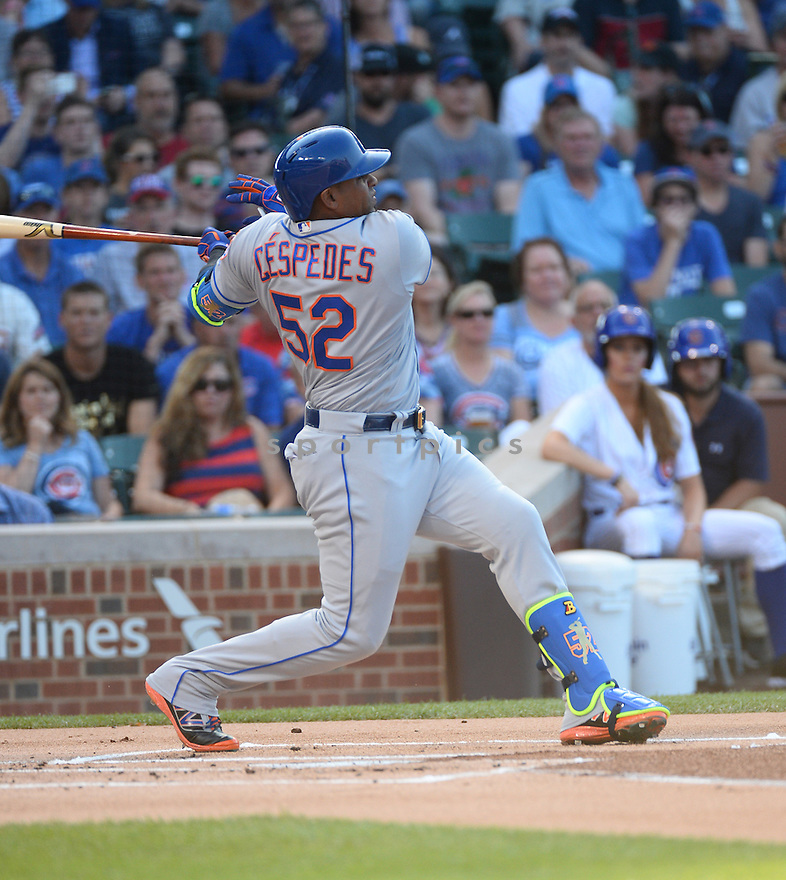 New York Mets Yoenis Cespedes (52) during a game against the Chicago Cubs on July 19, 2016 at Wrigley Field in Chicago, IL. The Mets beat the Cubs 2-1.