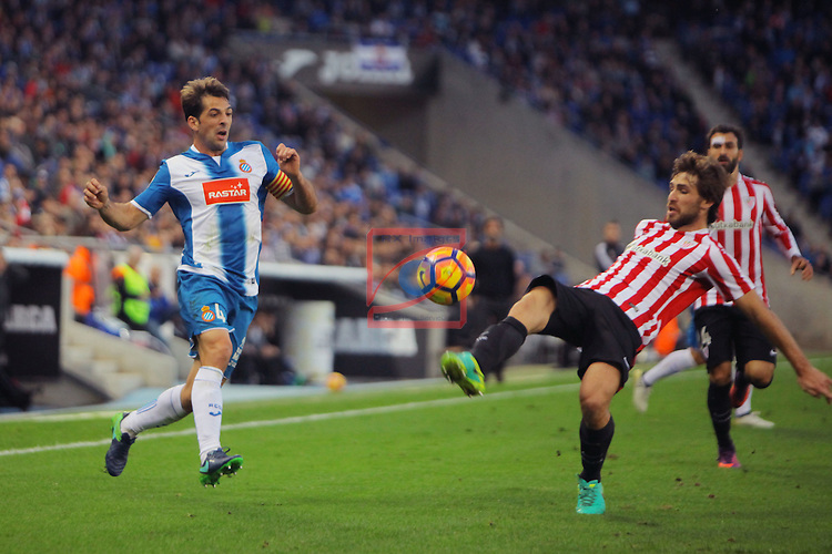 League Santander 2016/2017. Game: 11.<br /> RCD Espanyol vs Athletic Club: 0-0.<br /> Victor Sanchez vs Yeray Alvarez.