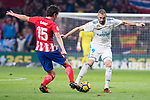 Atletico de Madrid Stefan Savic and Real Madrid Karim Benzema during La Liga match between Atletico de Madrid and Real Madrid at Wanda Metropolitano in Madrid, Spain. November 18, 2017. (ALTERPHOTOS/Borja B.Hojas)